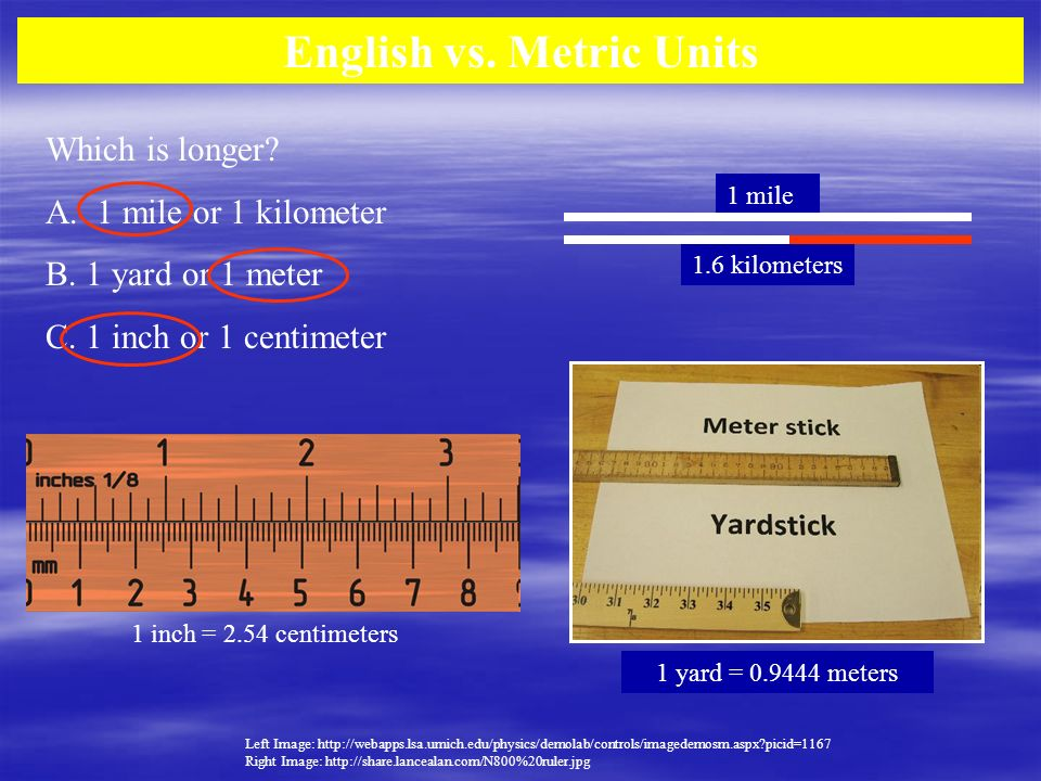 English vs. Metric Units