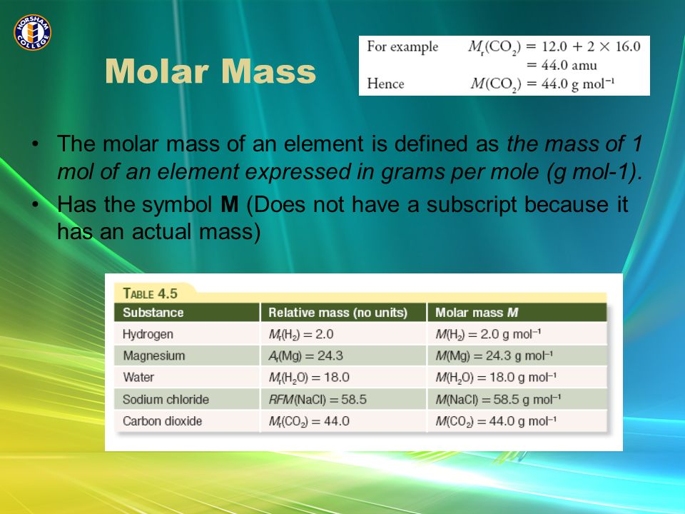 Molar Mass The molar mass of an element is defined as the mass of 1 mol of an element expressed in grams per mole (g mol-1).