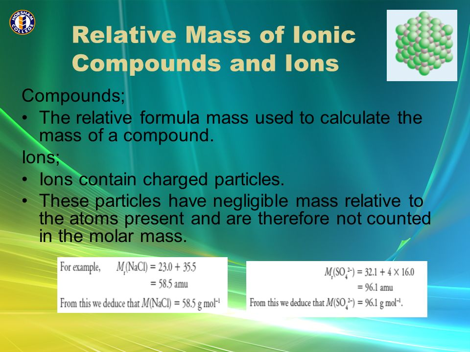 Relative Mass of Ionic Compounds and Ions