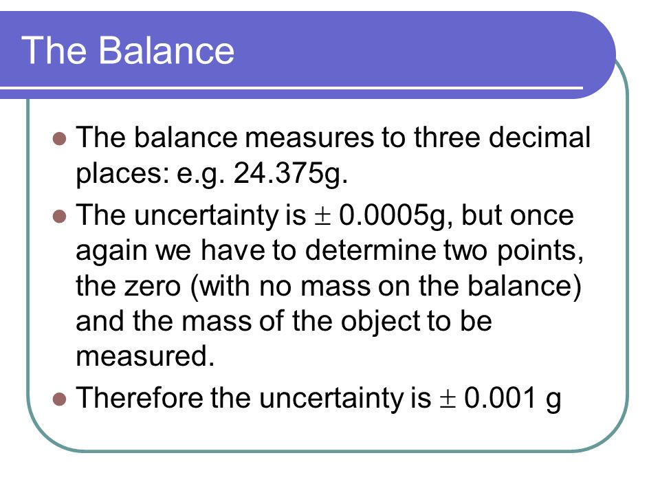 The Balance The balance measures to three decimal places: e.g g.