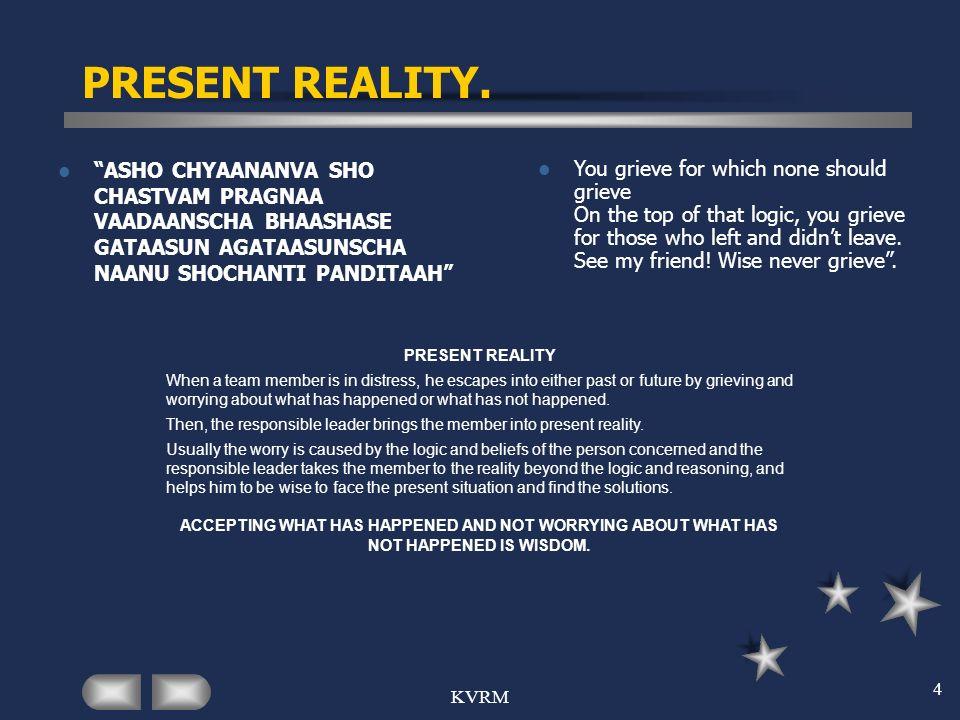 PRESENT REALITY. ASHO CHYAANANVA SHO CHASTVAM PRAGNAA VAADAANSCHA BHAASHASE GATAASUN AGATAASUNSCHA NAANU SHOCHANTI PANDITAAH