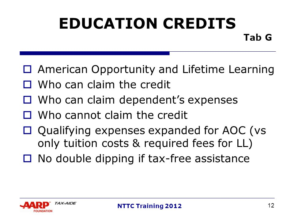 EDUCATION CREDITS Tab G