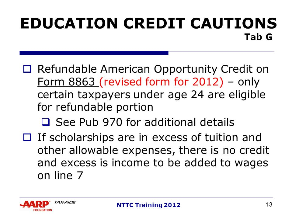 EDUCATION CREDIT CAUTIONS Tab G