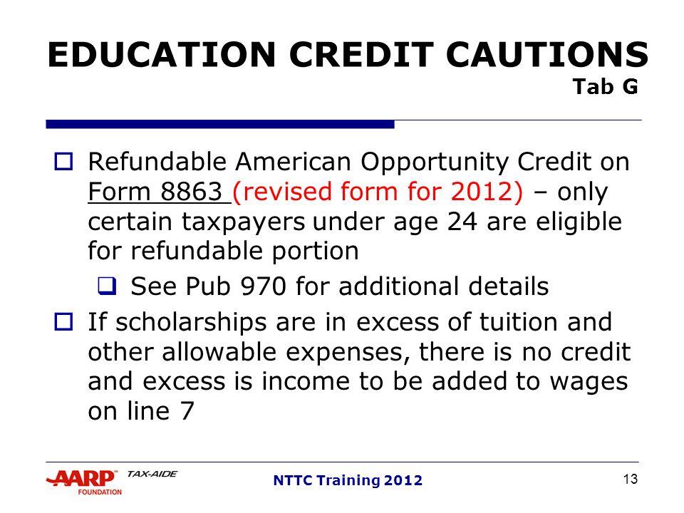 EDUCATION CREDIT CAUTIONS Tab G