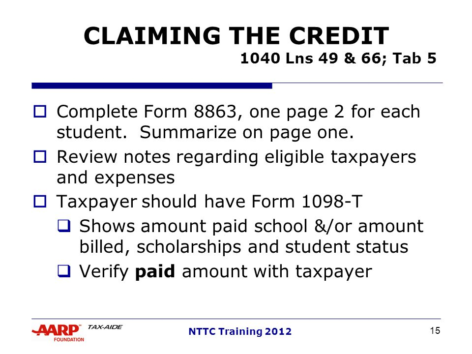 CLAIMING THE CREDIT 1040 Lns 49 & 66; Tab 5