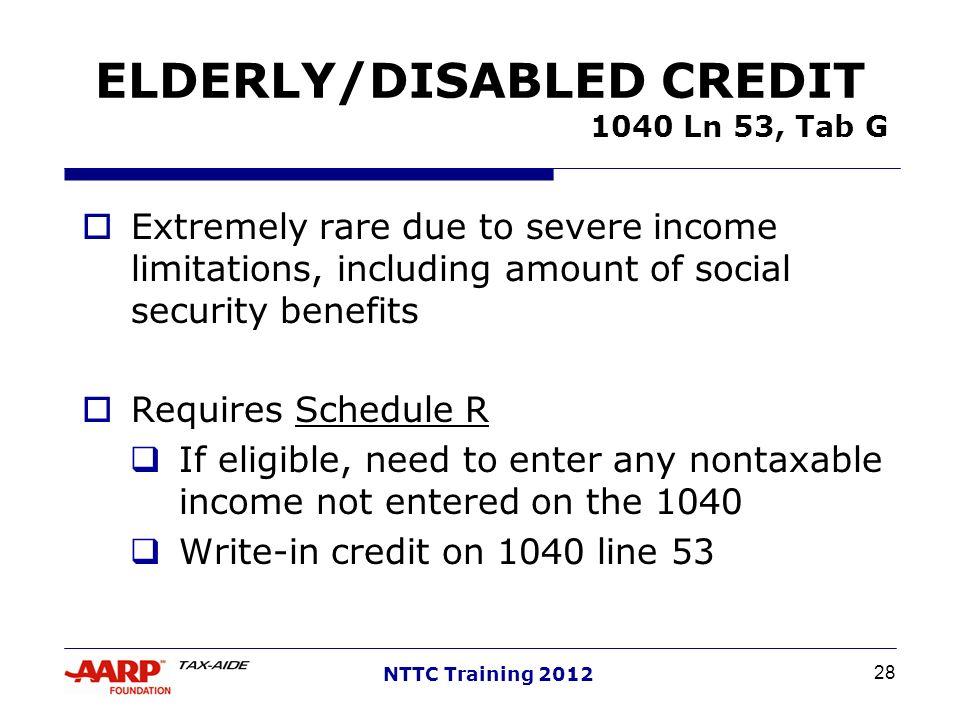 ELDERLY/DISABLED CREDIT 1040 Ln 53, Tab G