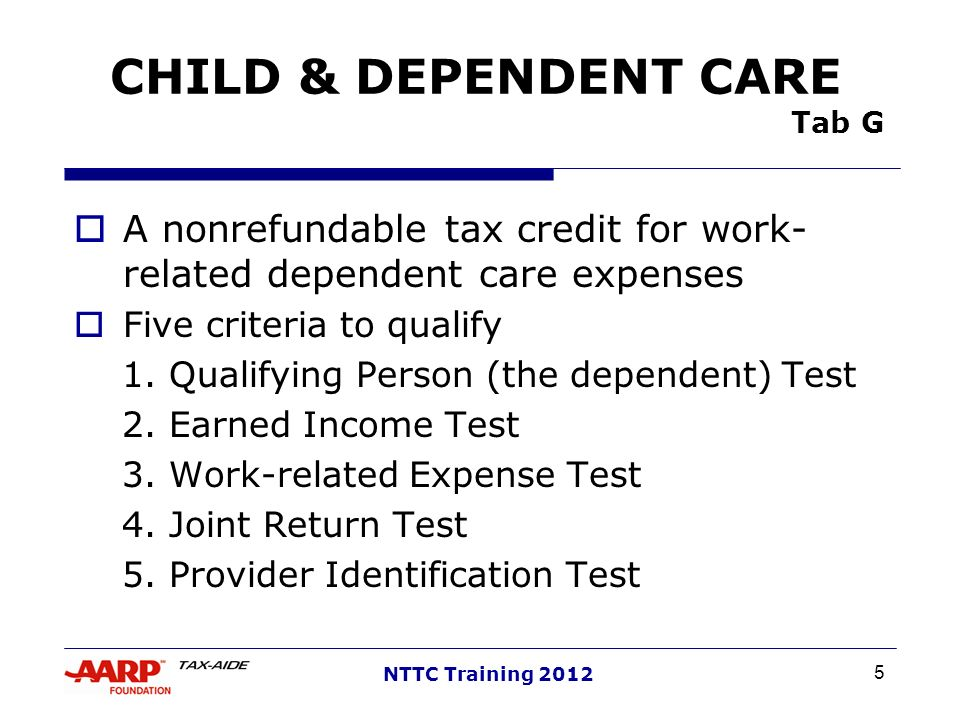 CHILD & DEPENDENT CARE Tab G