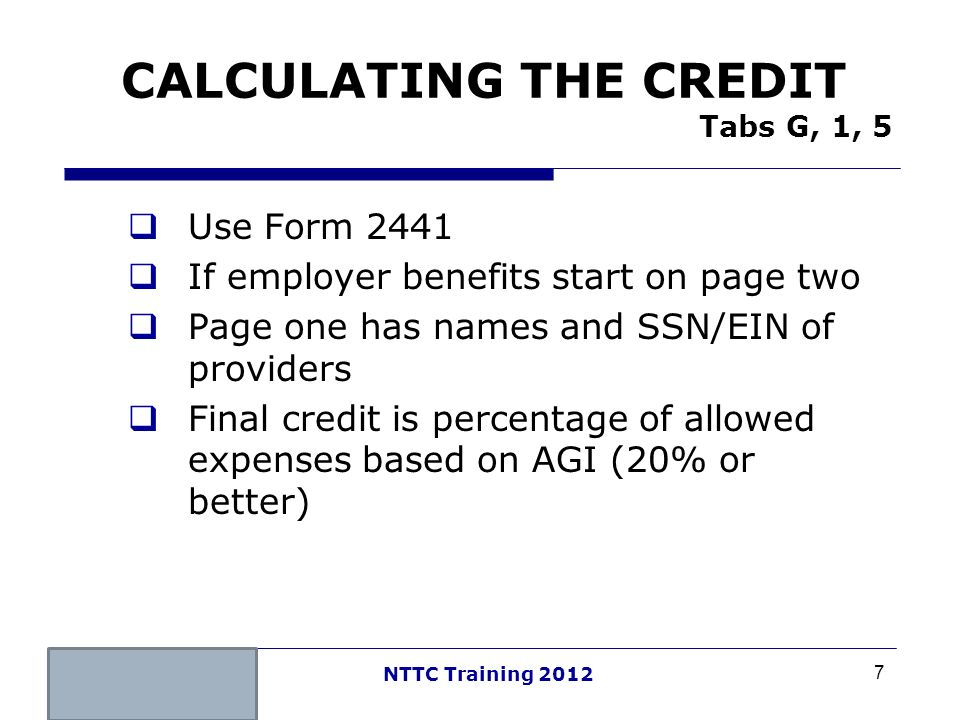 CALCULATING THE CREDIT Tabs G, 1, 5