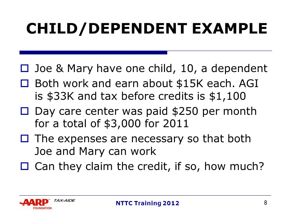 CHILD/DEPENDENT EXAMPLE