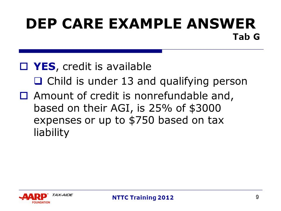 DEP CARE EXAMPLE ANSWER Tab G