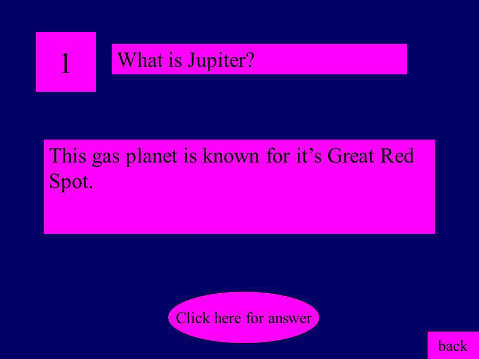 1 What is Jupiter This gas planet is known for it's Great Red Spot.