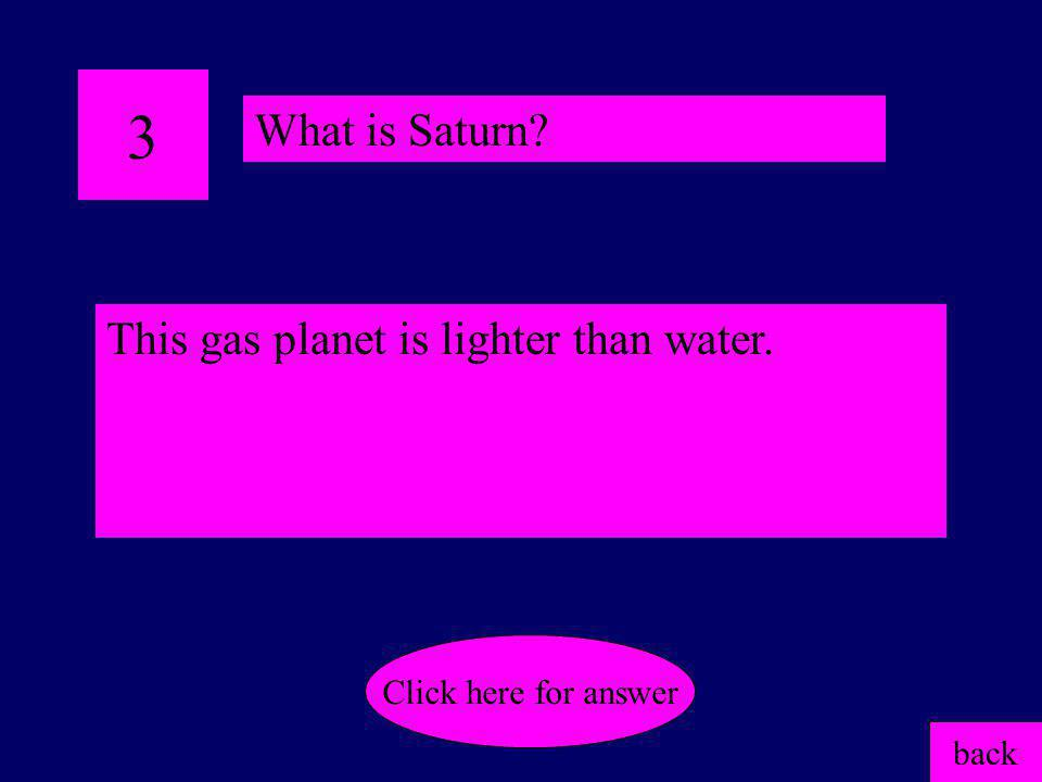 3 What is Saturn This gas planet is lighter than water.