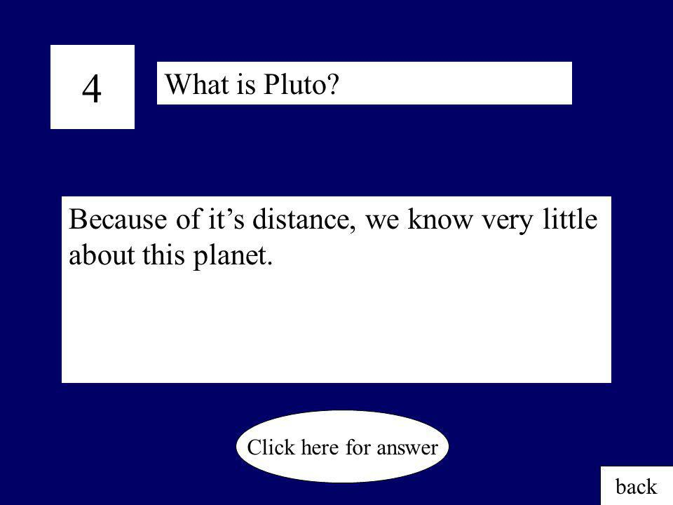 4 What is Pluto Because of it's distance, we know very little about this planet. Click here for answer.