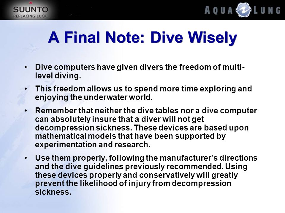 A Final Note: Dive Wisely
