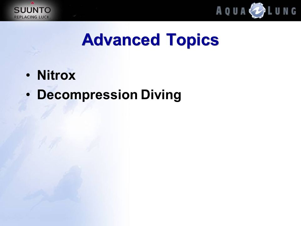 Advanced Topics Nitrox Decompression Diving