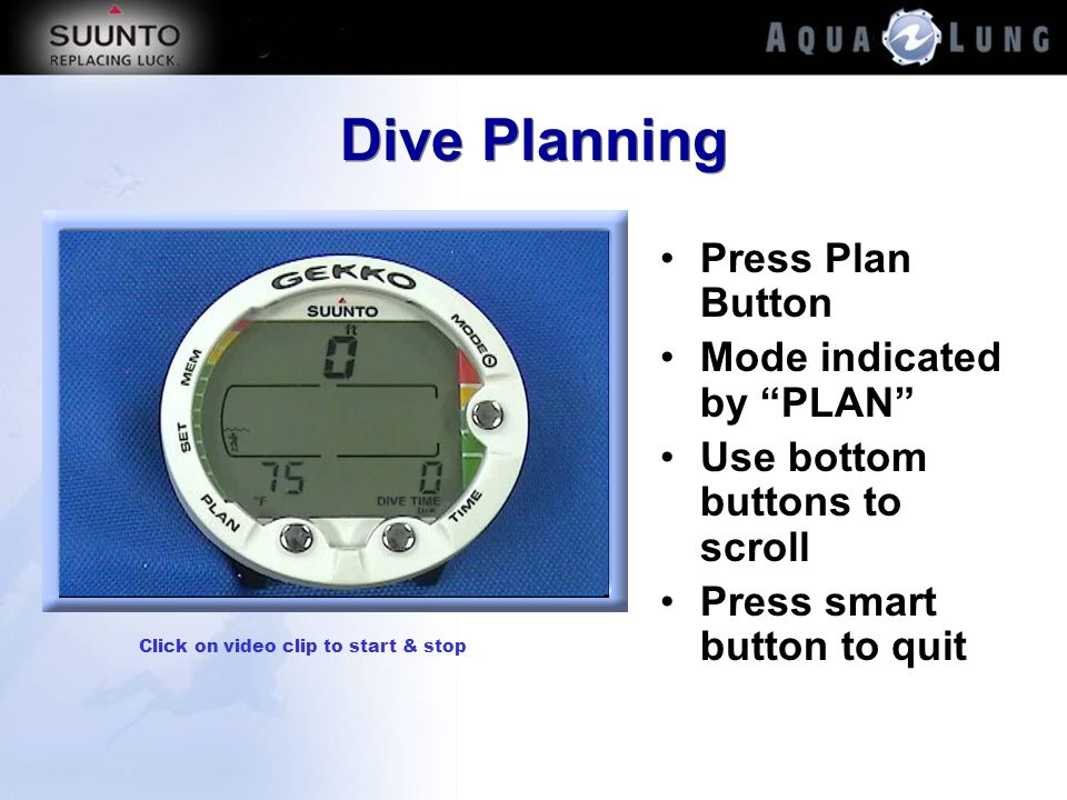 Dive Planning Press Plan Button Mode indicated by PLAN