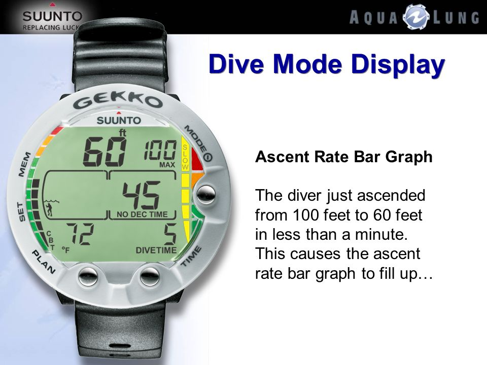 Dive Mode Display Ascent Rate Bar Graph
