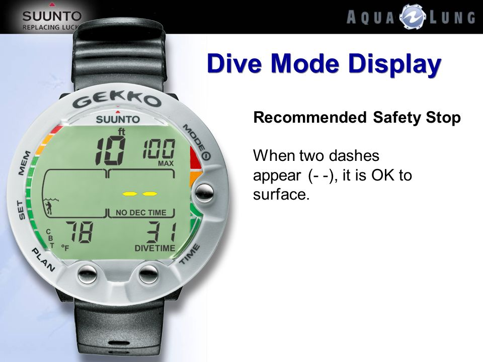 Dive Mode Display Recommended Safety Stop
