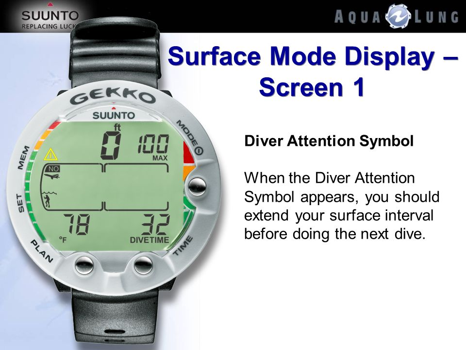 Surface Mode Display – Screen 1