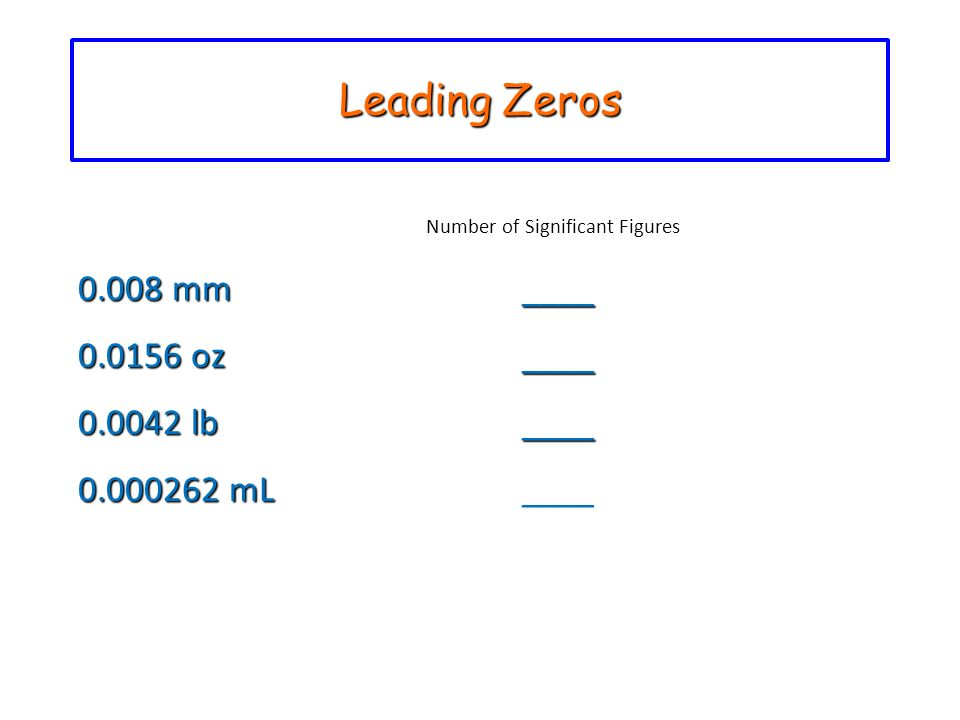Leading Zeros Number of Significant Figures 0.008 mm ____