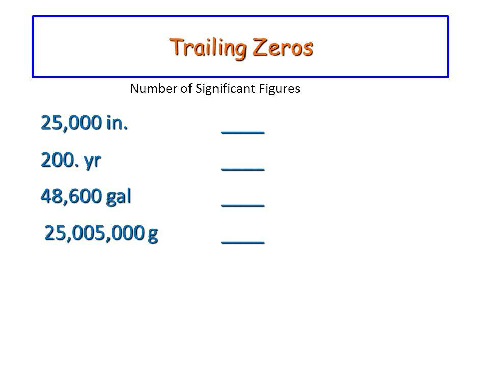 Trailing Zeros 25,000 in. ____ 200. yr ____ 48,600 gal ____