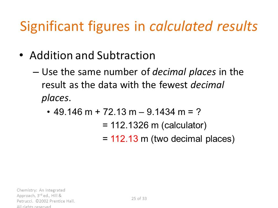 Significant figures in calculated results