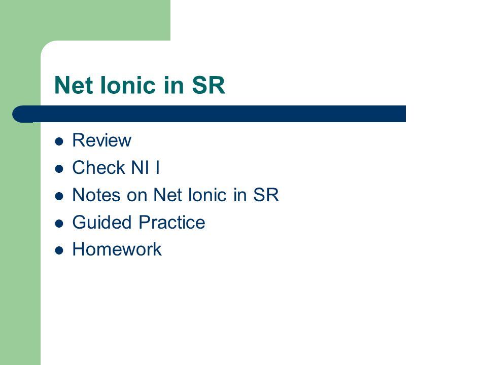 Net Ionic in SR Review Check NI I Notes on Net Ionic in SR