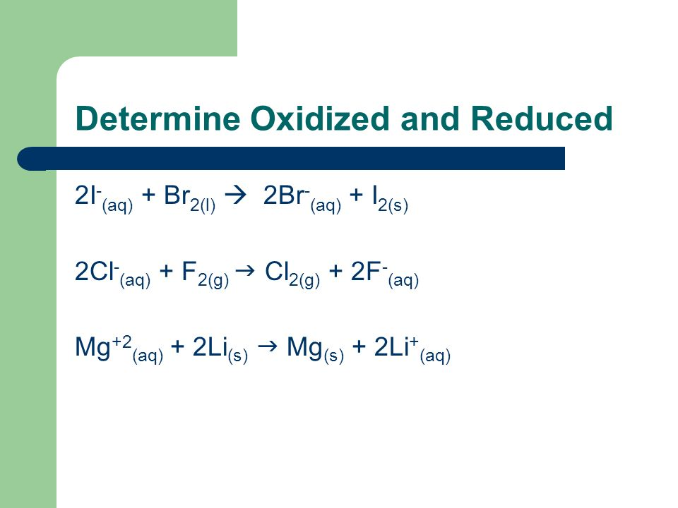 Determine Oxidized and Reduced