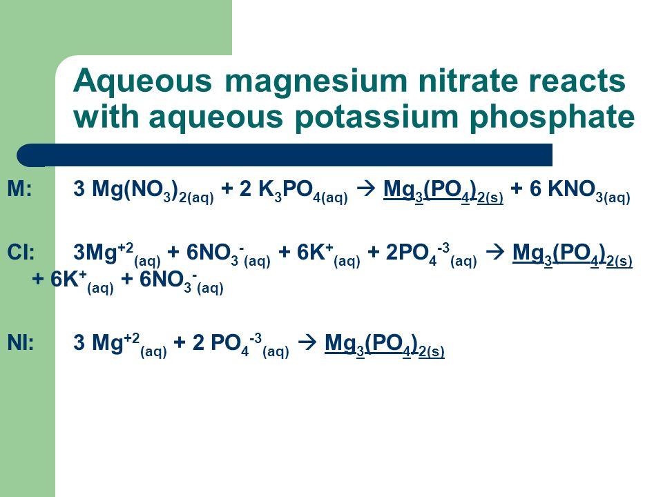 Aqueous magnesium nitrate reacts with aqueous potassium phosphate