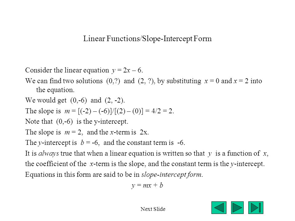 Linear Functions/Slope-Intercept Form
