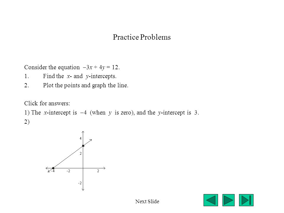 Practice Problems Consider the equation 3x + 4y = 12.
