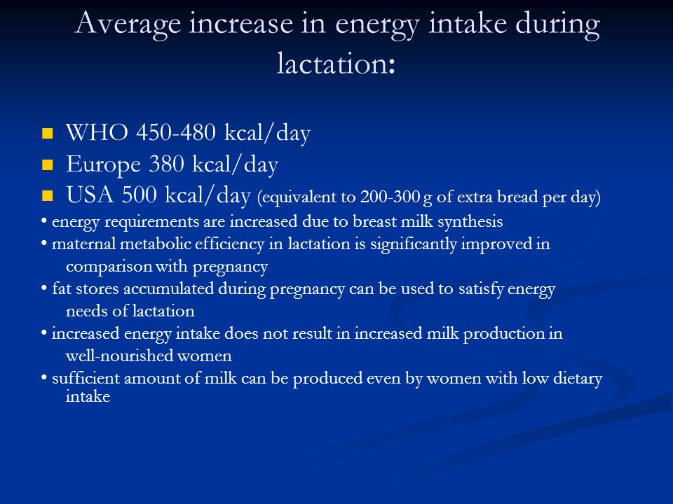Average increase in energy intake during lactation: