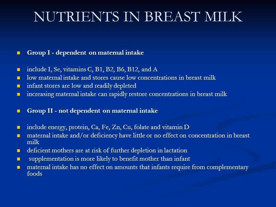 NUTRIENTS IN BREAST MILK