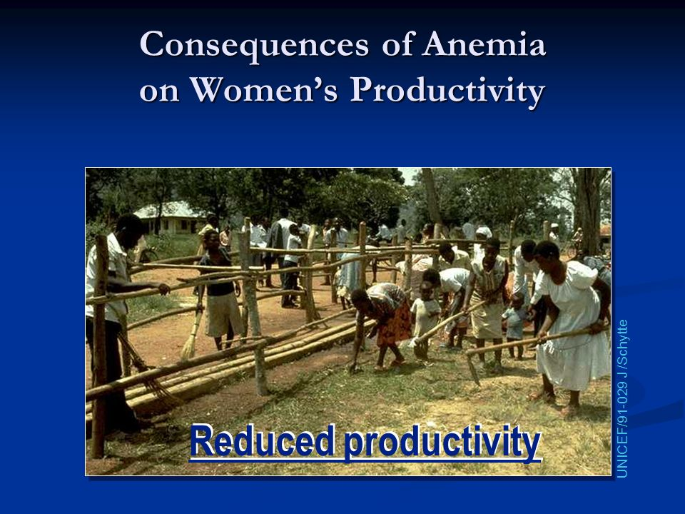 Consequences of Anemia on Women's Productivity
