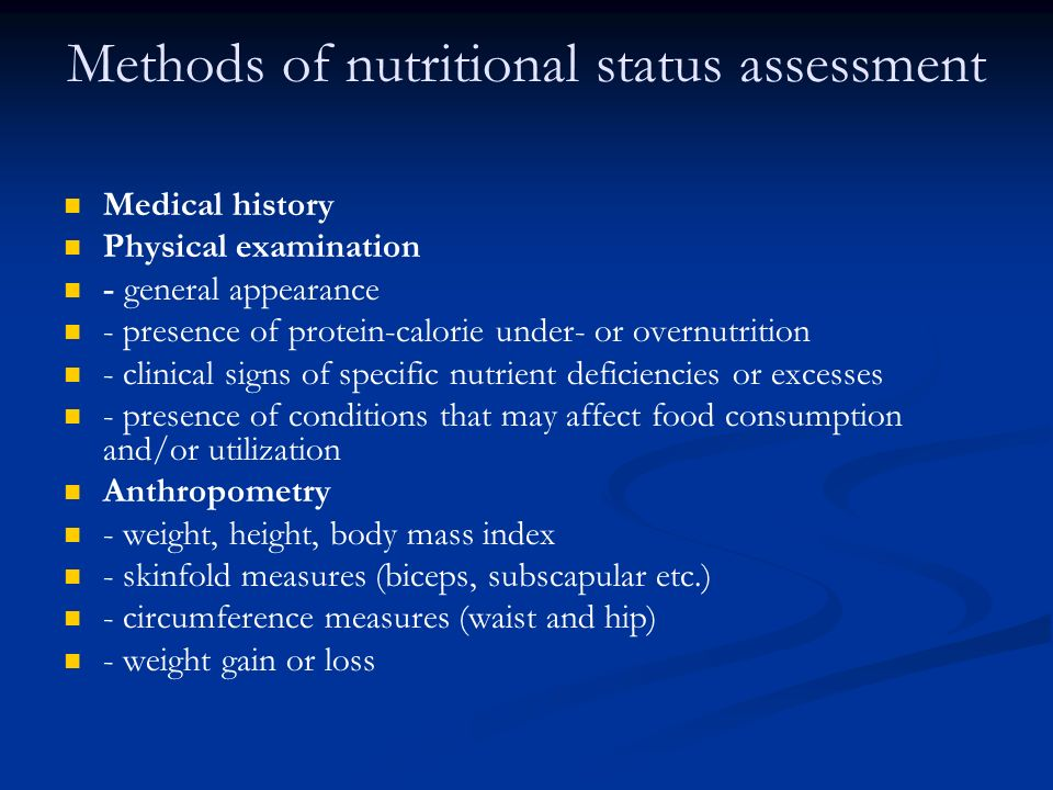 Methods of nutritional status assessment