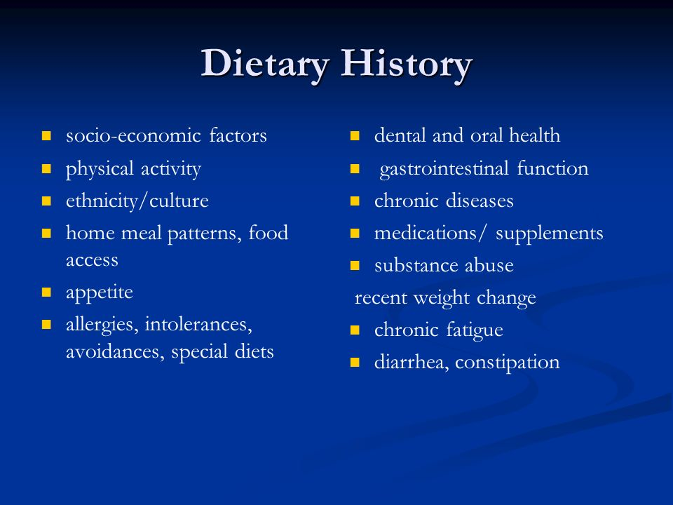 Dietary History socio-economic factors physical activity