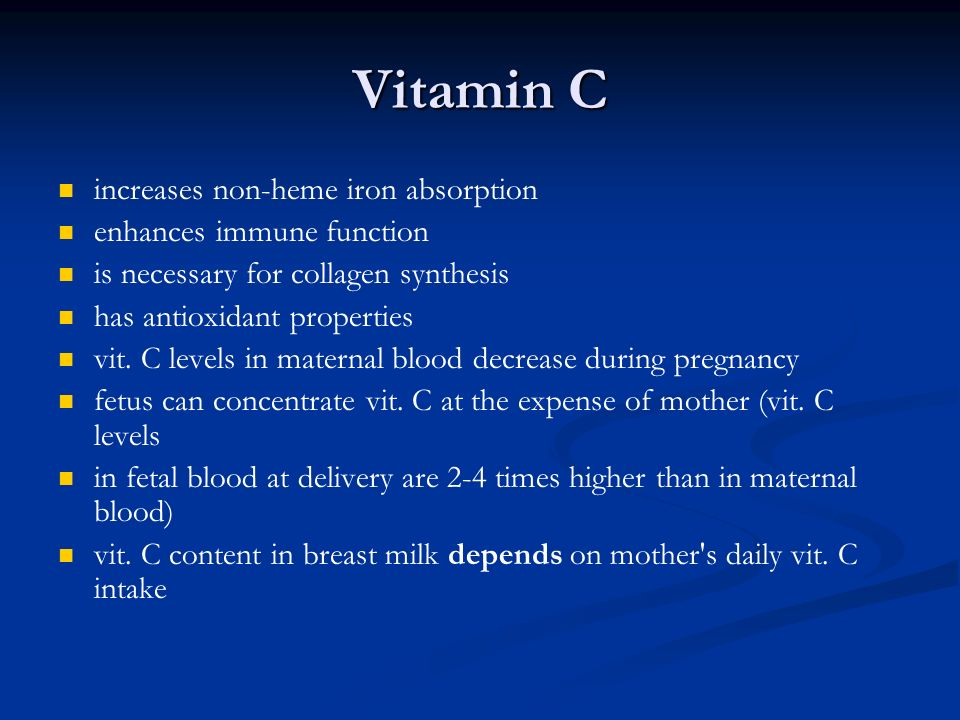 Vitamin C increases non-heme iron absorption enhances immune function
