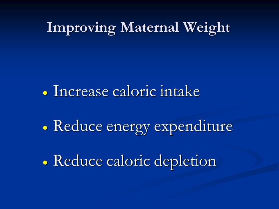 Improving Maternal Weight