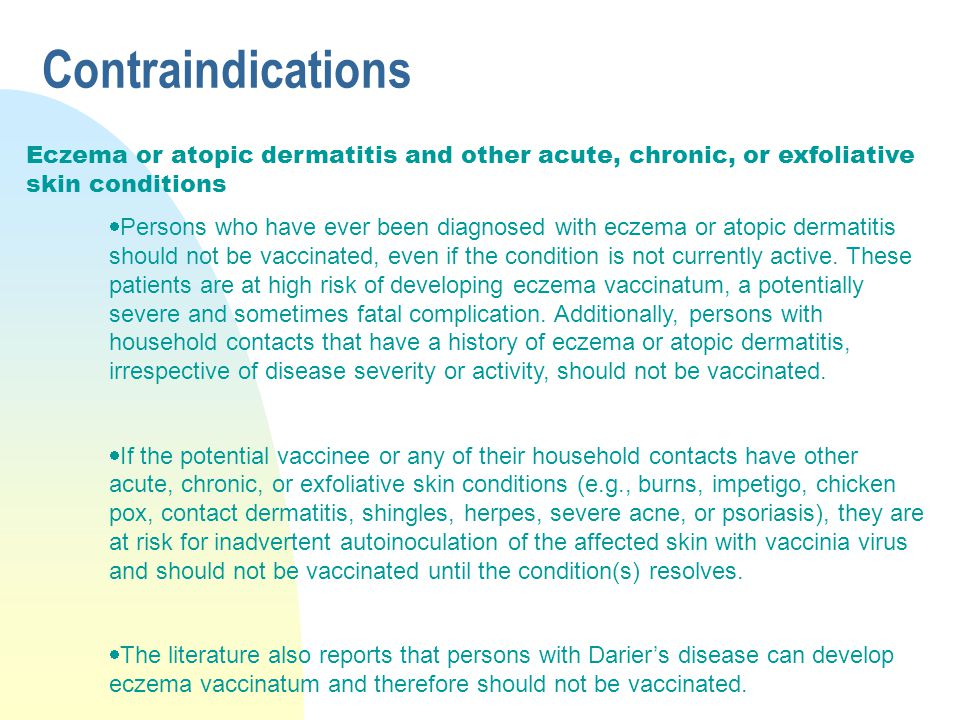 Contraindications Eczema or atopic dermatitis and other acute, chronic, or exfoliative skin conditions.