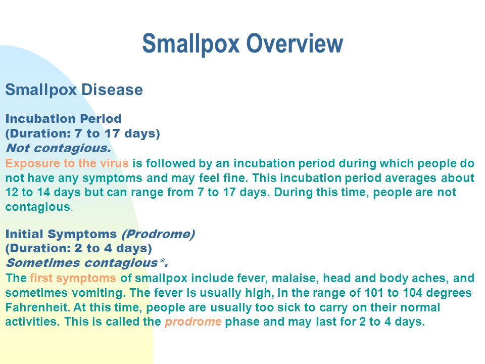 Smallpox Overview Smallpox Disease