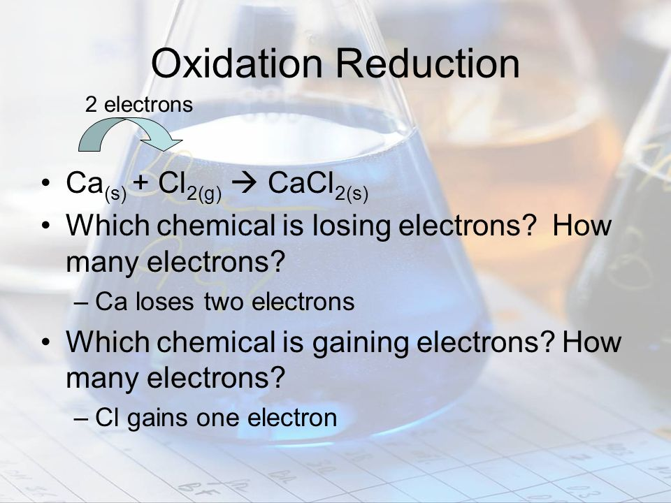 Oxidation Reduction Ca(s) + Cl2(g)  CaCl2(s)