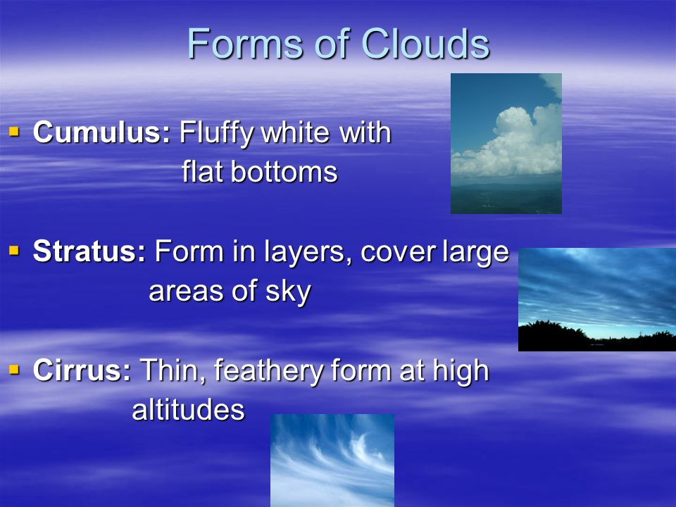 Forms of Clouds Cumulus: Fluffy white with flat bottoms