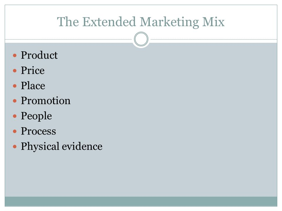 The Extended Marketing Mix