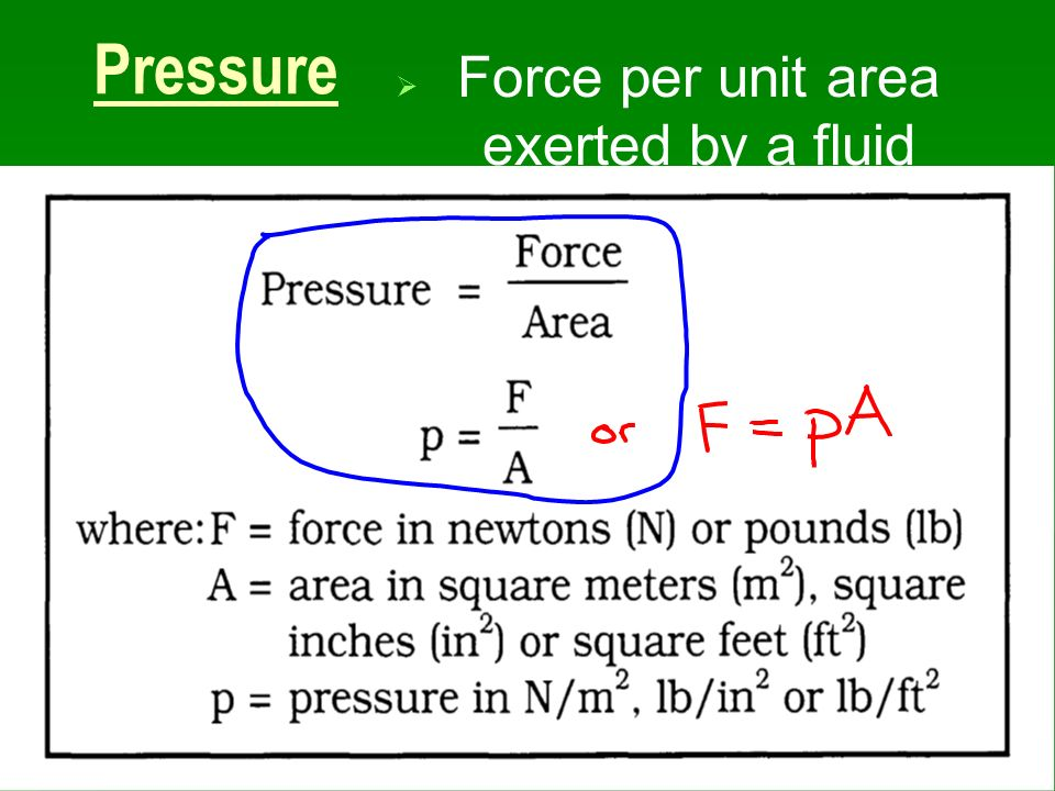 Force per unit area exerted by a fluid