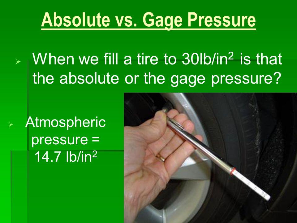 Absolute vs. Gage Pressure
