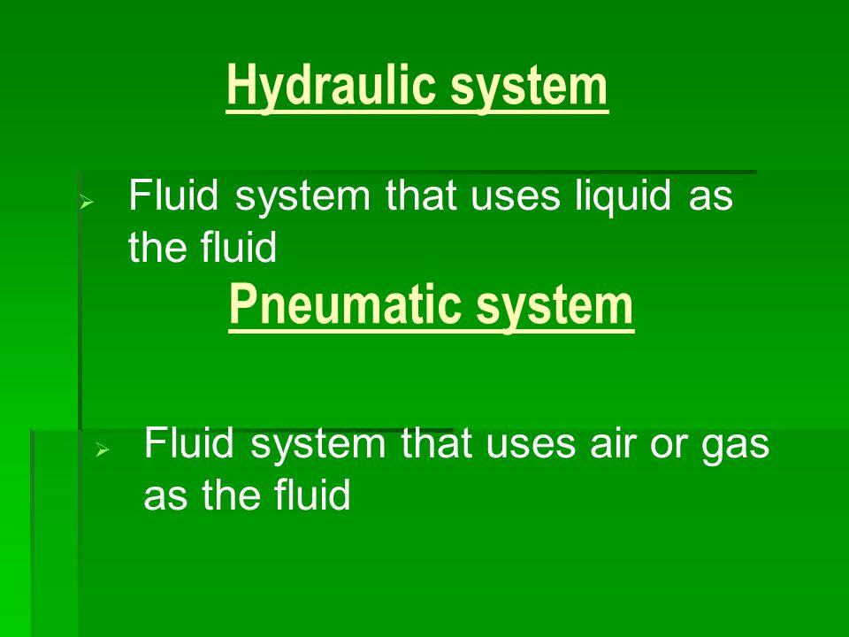 Hydraulic system Pneumatic system