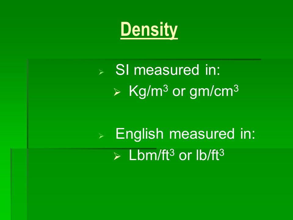 Density SI measured in: English measured in: Kg/m3 or gm/cm3
