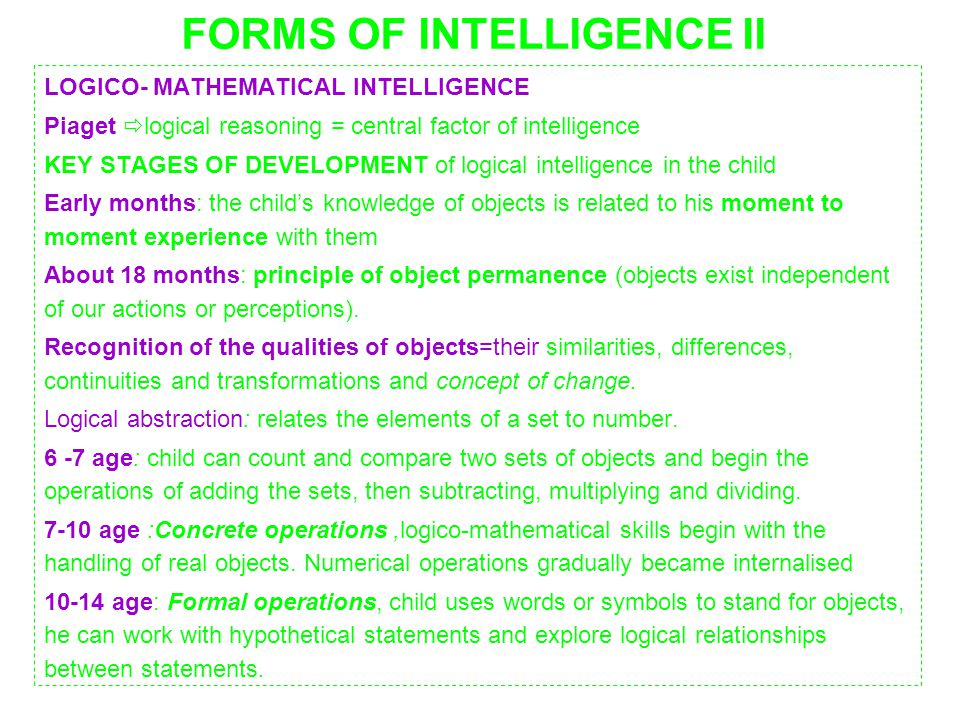 FORMS OF INTELLIGENCE II