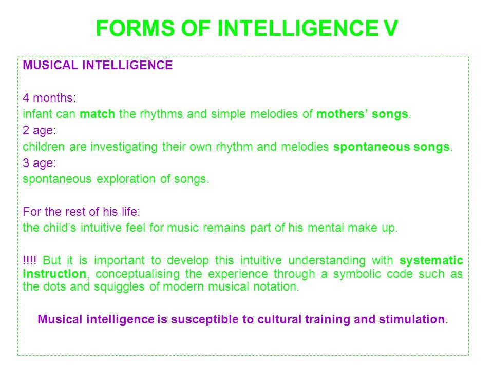 FORMS OF INTELLIGENCE V