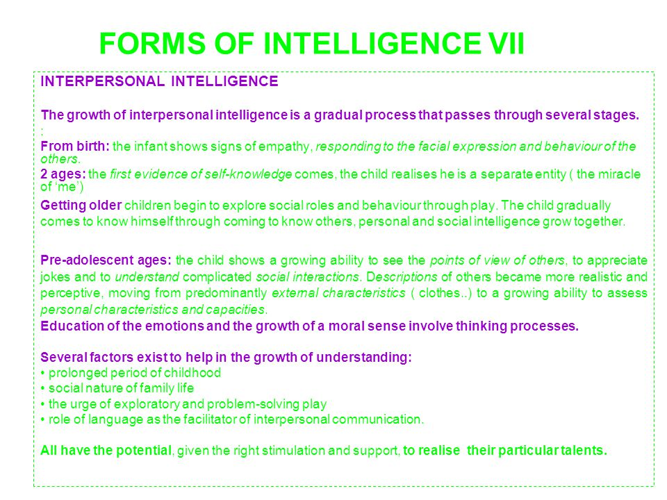 FORMS OF INTELLIGENCE VII